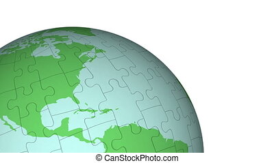 Animation of Planet Earth made of puzzle pieces, rotating. Map redrawn by me from NASA reference map found at .