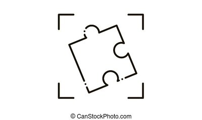 puzzle element Icon Animation. black puzzle element animated icon on white background