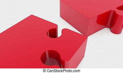 puzzle, en mouvement, rouges, morceaux