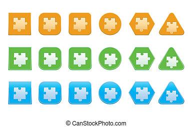 puzzle, ensemble, partie, icônes