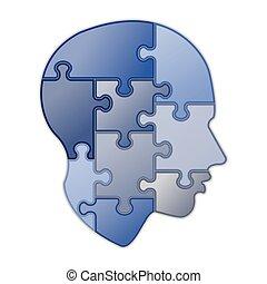 puzzle, esprit, humain