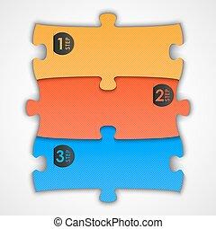 puzzle, etichetta, (steps), per, tuo, testo