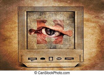Puzzle eye on vintage TV