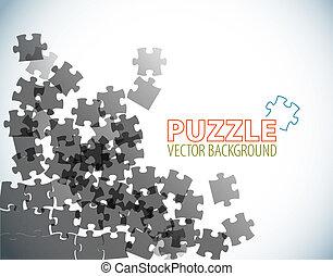 puzzle, fait, fond, morceaux