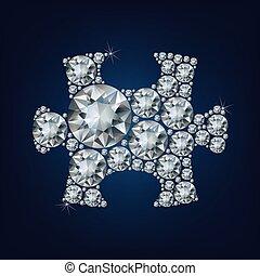 puzzle, fatto, pezzo, lotto, diamante