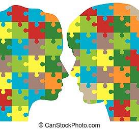 puzzle, femme, homme