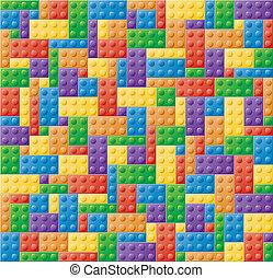 puzzle, fermeture, bloc, plastique