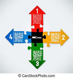 puzzle, flèches, coloré