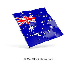 Puzzle flag of australia isolated on white