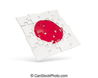 Puzzle flag of japan isolated on white