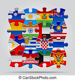 Puzzle with the national flag of croatia and philippines on set of puzzle with world flags contain the clipping path of every object gumiabroncs Choice Image