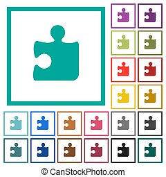 Puzzle flat color icons with quadrant frames