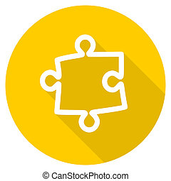 puzzle flat design yellow web icon