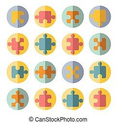 puzzle flat icon set