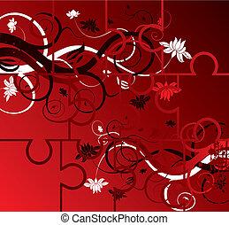 Puzzle floral background, elements for design, vector