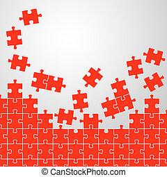 puzzle, fond, rouges, morceaux