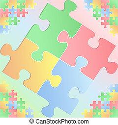 puzzle, fondo, pezzi