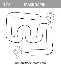 Puzzle for children, help to chicken find its way out of the maze