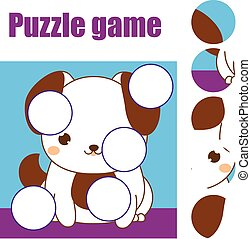 Puzzle for toddlers. Children educational game. Match pieces...