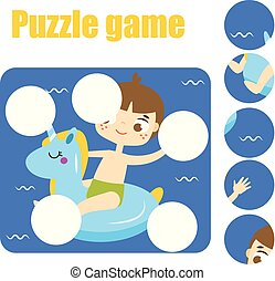Puzzle game, Find missing part of picture. Educational...