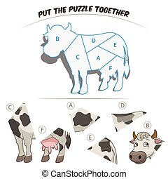 Puzzle game for children cow