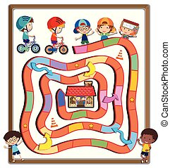 Puzzle game template with kids riding bike