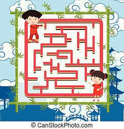 Puzzle game template with two chinese kids