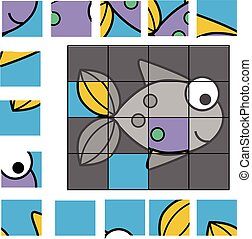 Puzzle game with fish. Kids activity sheet