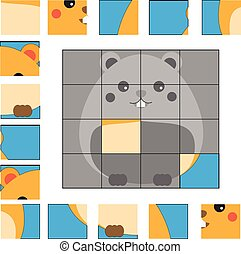 Puzzle game with hamster. Kids activity sheet