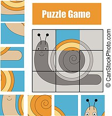 Puzzle game with snail. Kids activity sheet