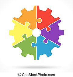 puzzle gear wheel for teamwork symbolism - gear wheel with...