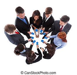 puzzle, gens, connecter, business, morceaux