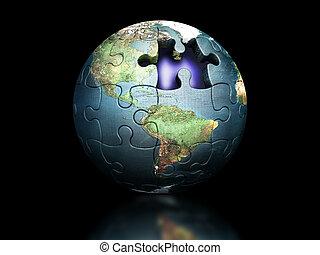 puzzle, globe