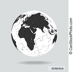 Puzzle globe. Vector illustration.