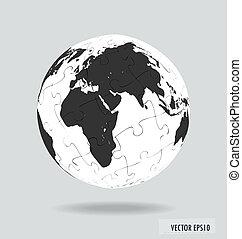 Puzzle globe. Vector illustration.