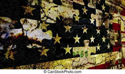 puzzle, grunge, drapeau, usa