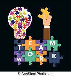 puzzle hand teamwork support design