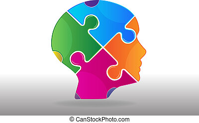 Puzzle head ideas concept logo vector