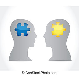 puzzle head illustration design over a white background