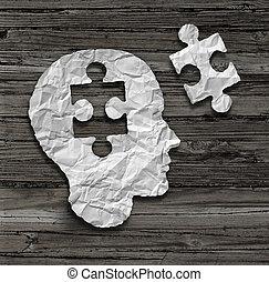 Puzzle Head - Puzzle head brain concept as a human face...