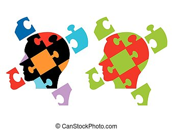 Puzzle heads symbolizing Psychology