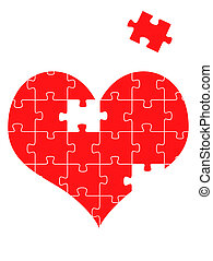 Puzzle heart, vector illustration