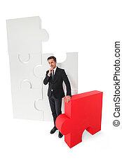 puzzle, homme, business, morceaux