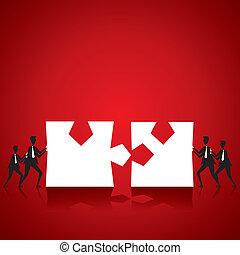 puzzle, hommes, joindre, morceau