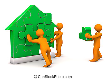 Puzzle House Manikin - Orange cartoon characters builds with...