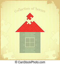 Puzzle house on Grunge background - Vintage card - Puzzle...