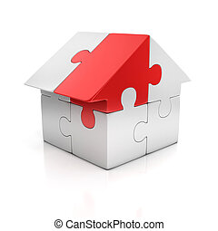 puzzle house one red piece 3d