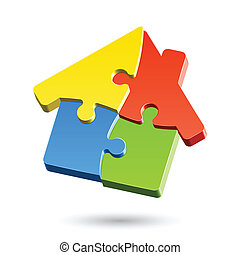 Puzzle house vector illustration