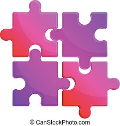 puzzle, icône, style, dessin animé, morceaux