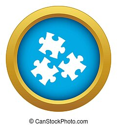 Puzzle icon blue isolated